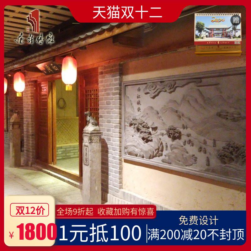 唐语砖雕关中八景浮雕背景墙仿古砖雕影壁墙中式照壁墙画古建青砖,可领取20元天猫优惠券