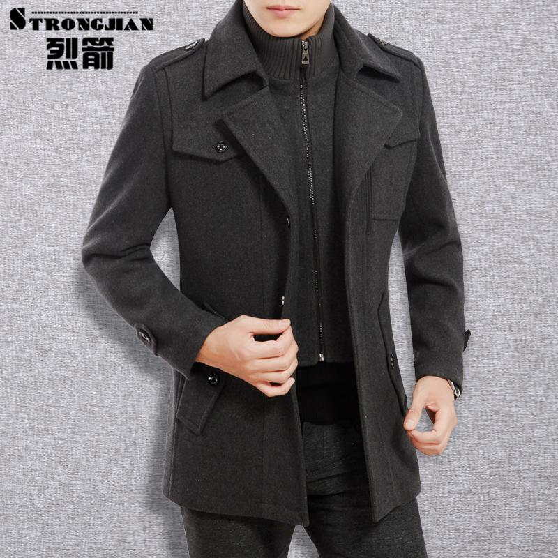 2021春秋季新款男装羊毛呢夹克中年男士尼子外套厚中长款休闲上衣