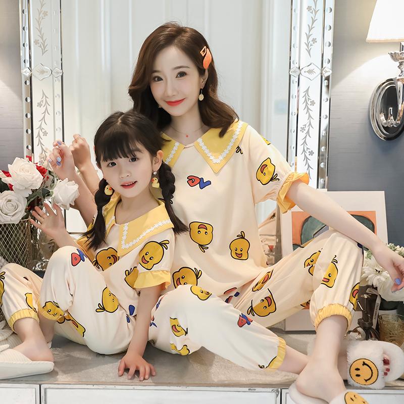 新款小鸭母女装睡衣纯棉短袖长裤亲子女童可爱夏秋季大小童家居服