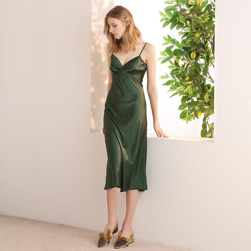 simple retro绿色法式吊带裙复古绸缎露背性感睡裙小礼服连衣裙女