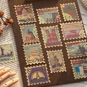 纸先生诗和远方烫金贴纸包 复古车票邮票植物英文diy装饰手账贴画