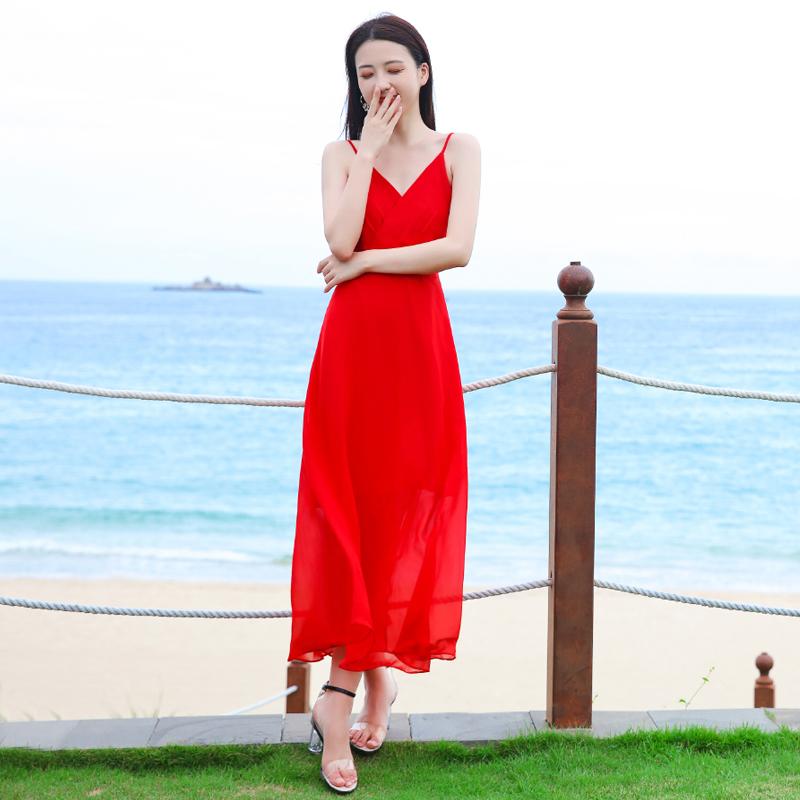 2021新款红色露背吊带长裙女夏三亚度假海边沙滩裙超仙雪纺连衣裙