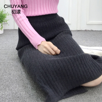 2018 autumn Winter new thin bag hip knitted skirt wool skirt long skirt fork one step skirt girl