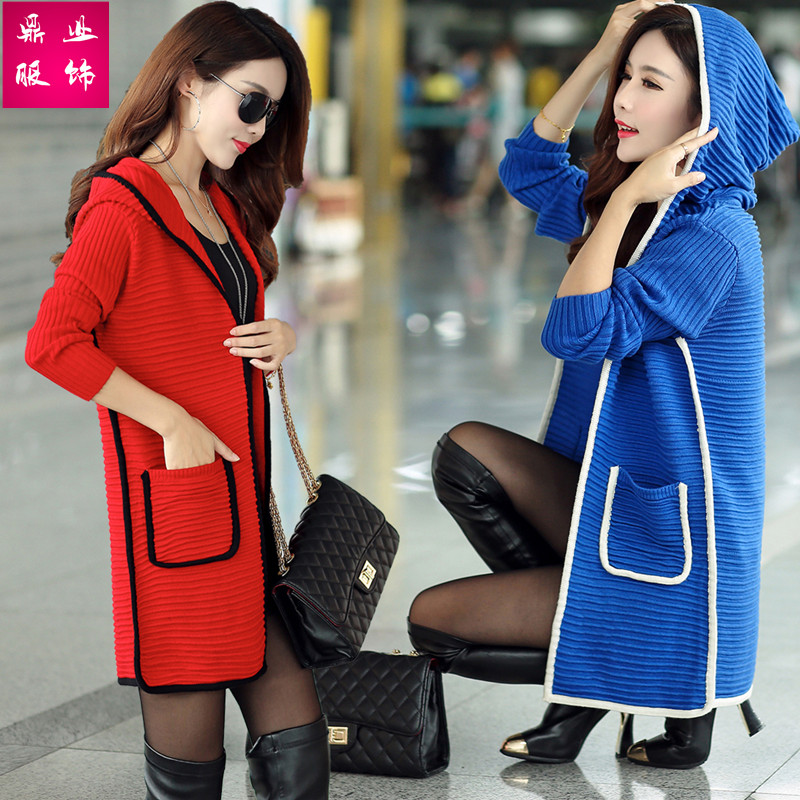 2019 spring and Autumn New Korean versatile sweater medium long hooded sweater cardigan trench coat nun