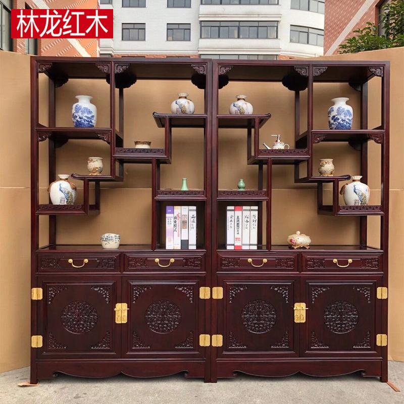 赤木博古架酸枝木の中国式骨董品展示棚多宝閣棚客間仕切り酒棚棚