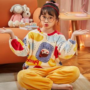 冬季珊瑚绒睡衣女套装青少年中学生法兰绒少女秋冬加绒厚款家居服