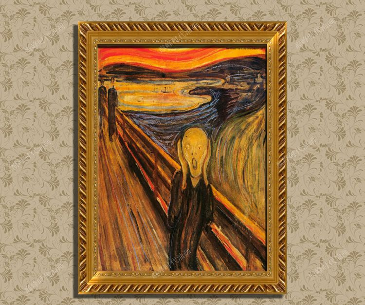 Pure hand painted Van Gogh Monck scream oil painting figure portrait living room decoration porch frameless painting dining room mural hanging painting