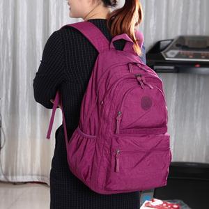 大号休闲双肩包水洗尼龙布料旅行背包新款时尚女包学院风学生书包