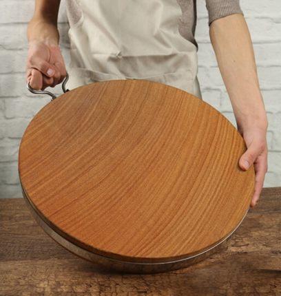 菜板实木家用圆形切菜案板耐砍耐剁黄金铁木砧板加厚案板整木菜墩
