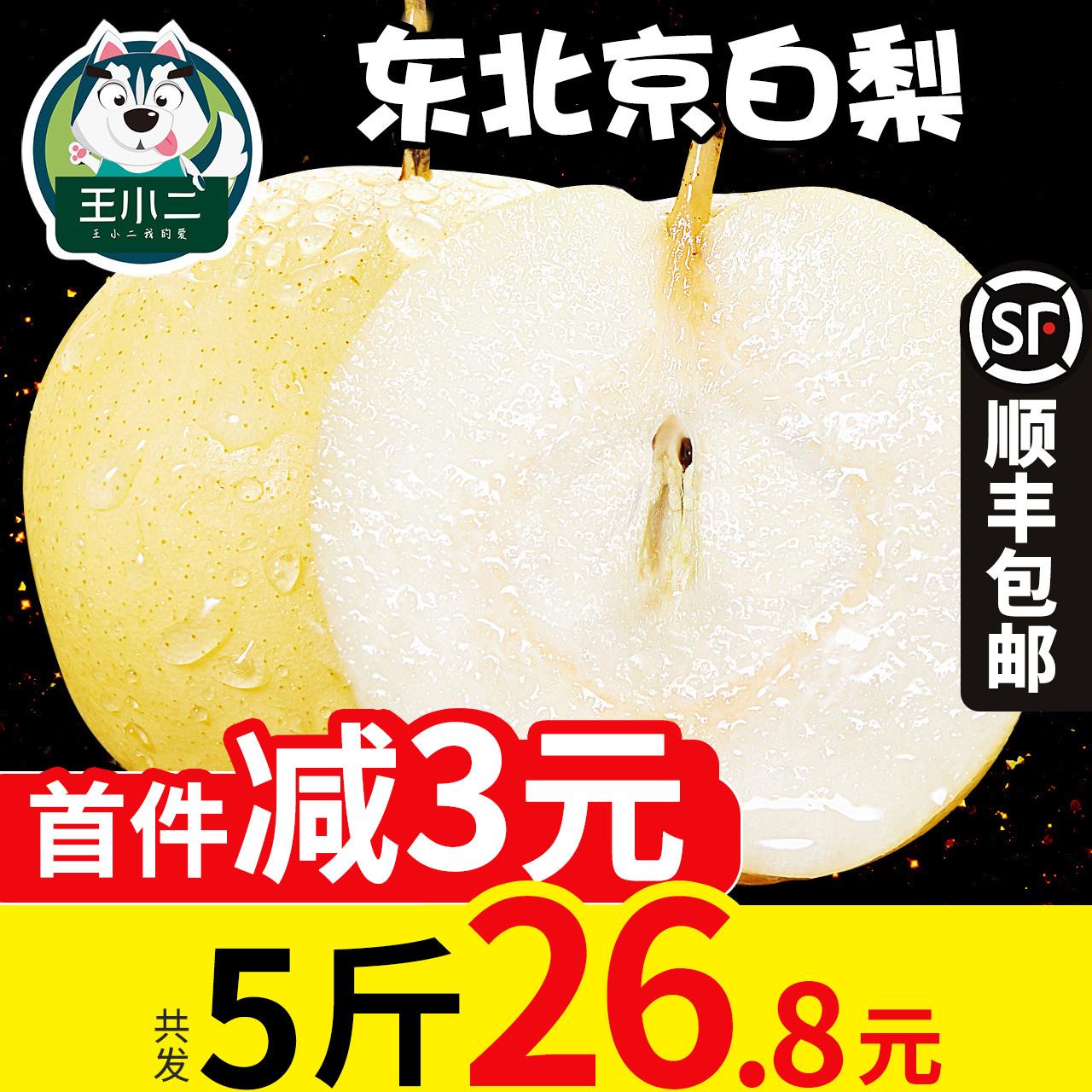 王小二 东北京白梨当季水果梨子新鲜特产应季黄金脆梨包邮批发5斤