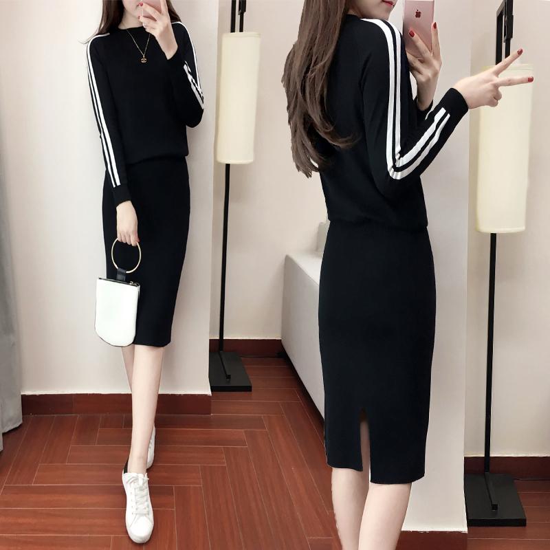 毛衣套装裙两件套女秋冬装小个子新款韩版洋气针织时尚套装女潮