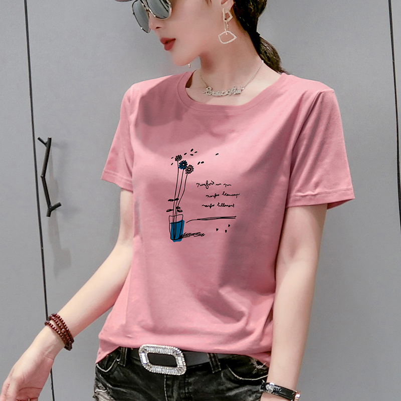 Pure cotton clothes 2021 summer new loose cover the belly was thin short-sleeve compassionate short-sleeved t-shirt fashion tide Ms.