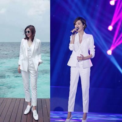 2020春秋新款韓版明星同款白色修身小西服OL西裝九分褲兩件套套裝
