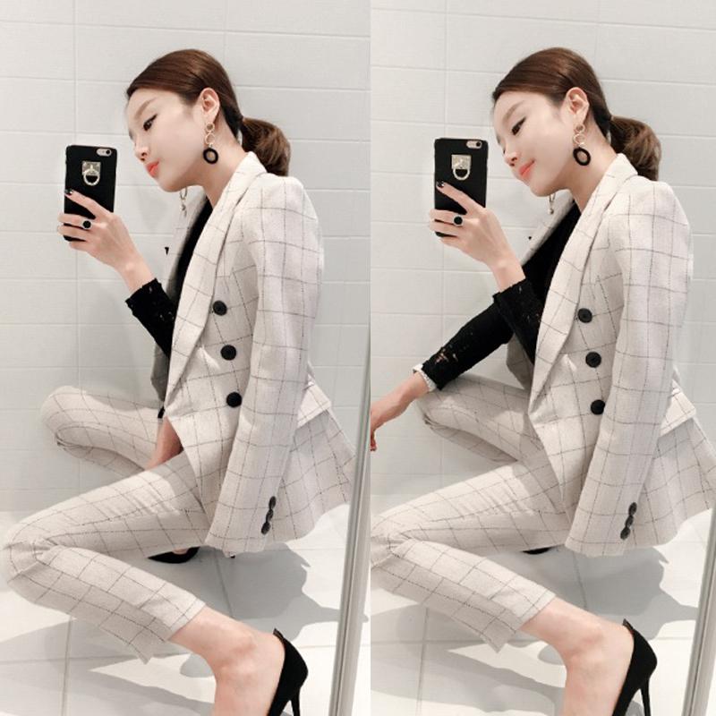 Южная корея восточные ворота 2017 весна женщины корейский темперамент мода отворот двубортный тонкий талия костюм установите