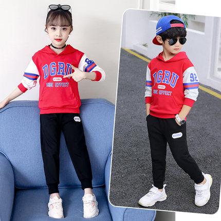男童套装秋装2019新款洋气儿童春秋卫衣两件套中大童男孩帅气韩版