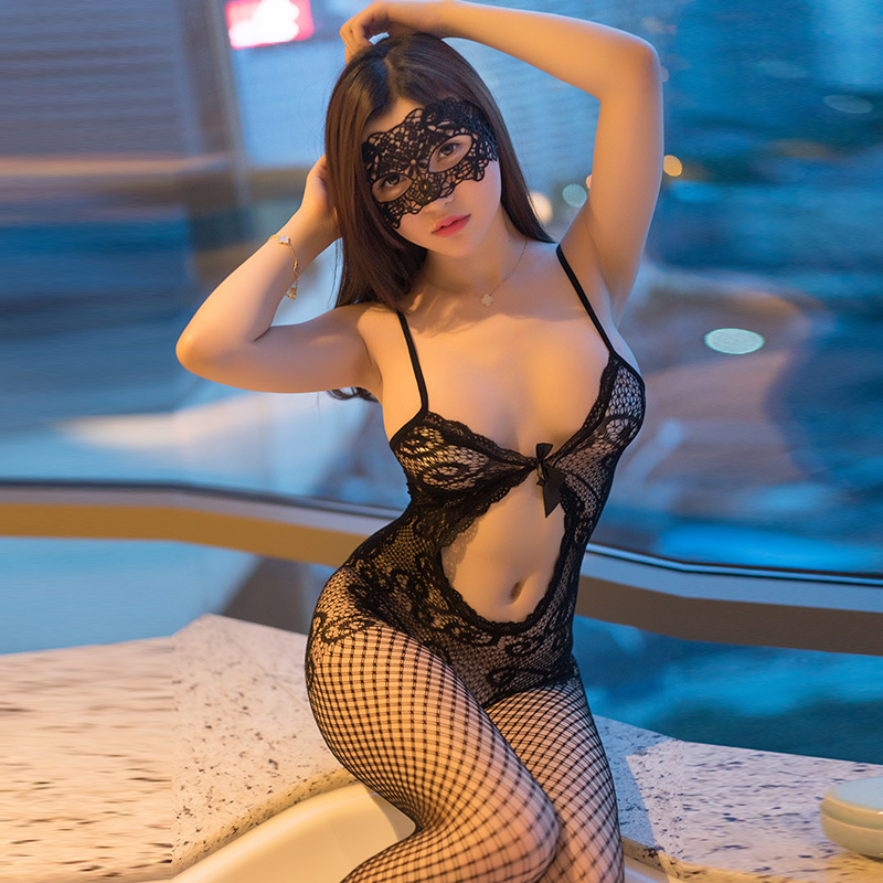 性感成人用品情趣内衣女式SMOL网衣制服成人开裆小胸连体丝袜套装