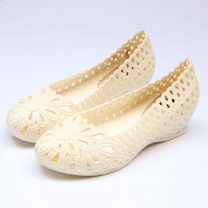 夏鏤空女鞋坡跟鞋塑膠涼鞋鳥巢洞洞鞋白色護士工作鞋孕婦媽媽鞋