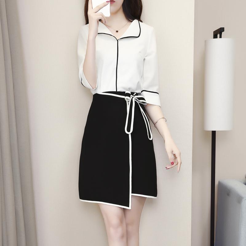 2018夏装新款OL气质职业女装连衣裙通勤时尚套装短裙两件套裙子潮