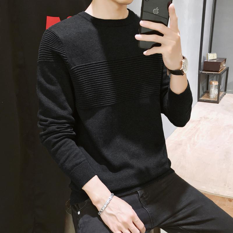 秋冬季毛衣男士2020新款韩版圆领打底针织衫男加绒加厚条纹毛线衣