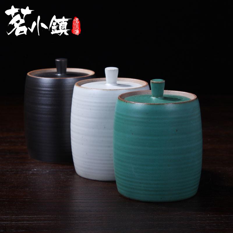 普洱茶罐茶叶罐密封仓旅行储物罐存茶具配件中号复古日式陶瓷茶盒