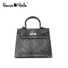 House of Hello classic Python leather handbag fashion shoulder bag 25cckk Kelly bag