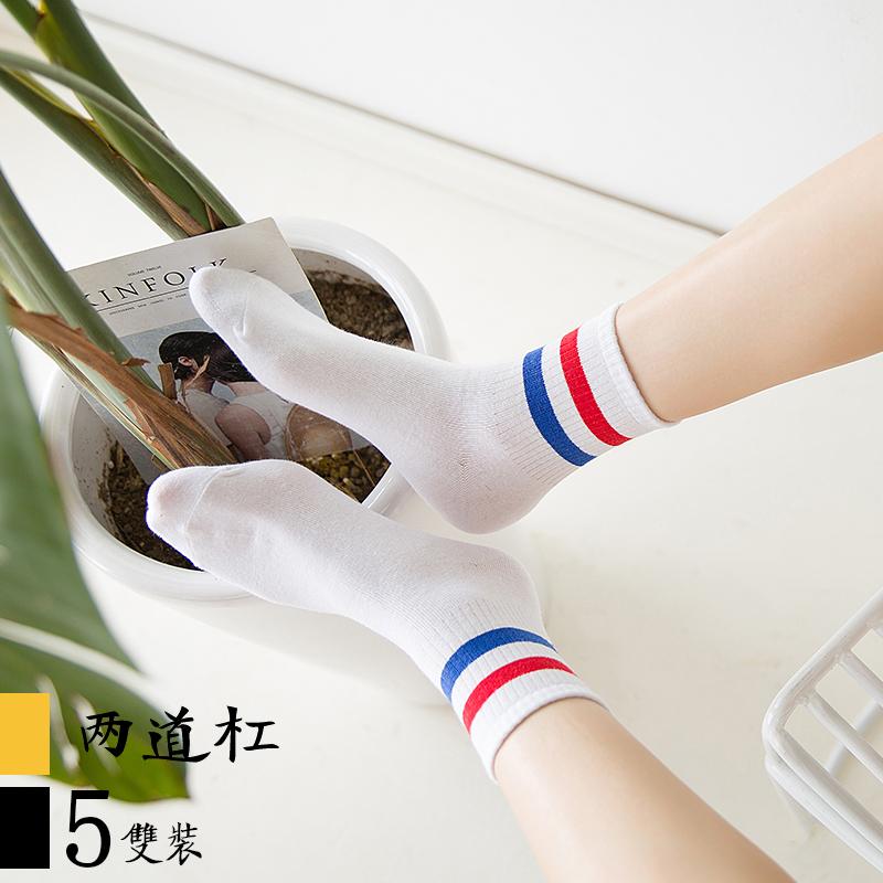 韩版学院风袜子女中筒袜纯棉潮韩国可爱日系软妹少女学生二杠百搭