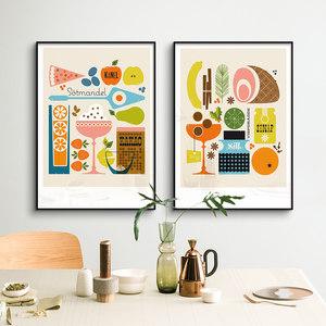 鳟鱼 北欧签约艺术家Bo Lundberg装饰画餐厅海报儿童房画饭厅挂画