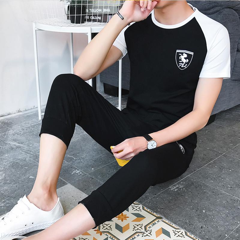 男夏季学生休闲短袖七分裤修身运动服男士薄款青年T恤套装二件套