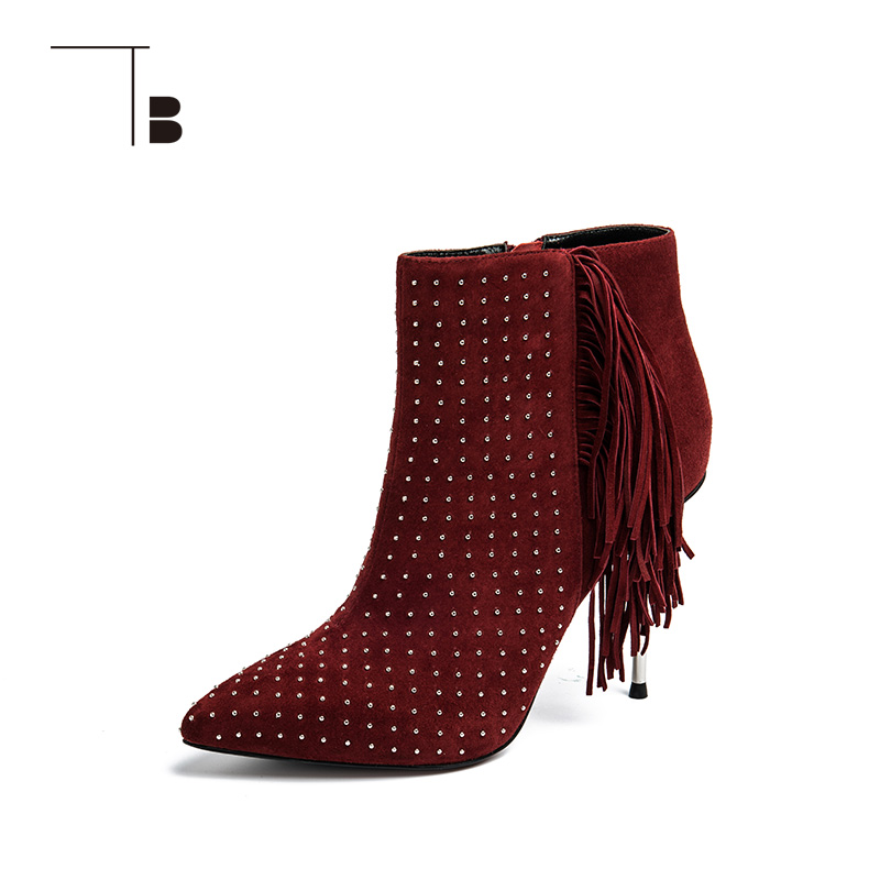 TB / tuobei womens autumn and winter short boots rivet tassel thin high heel pointed female bare boots q026412201
