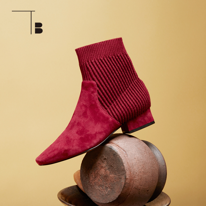 TB / tuobei autumn and winter new womens low heel knitted splicing pointed fashion socks boots short boots q0284062