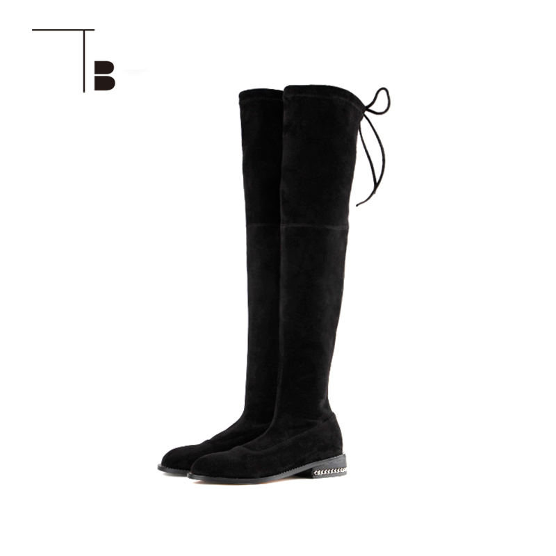 TB / tuobei autumn and winter new fashion versatile flat heel lace up knee boots womens boots q0284067