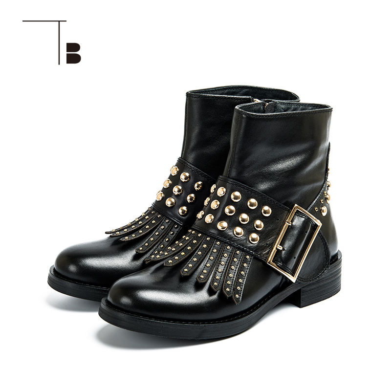 TB / tuobei womens autumn and winter short boots British rivet womens middle tube boots thick soled middle heel womens Martin boots