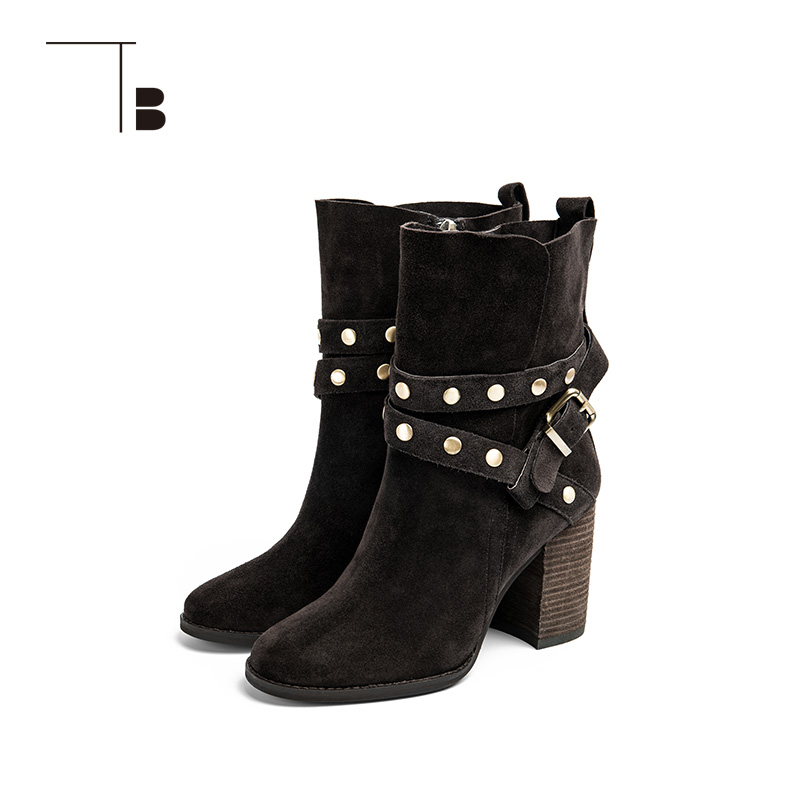 TB / tuobei womens autumn and winter round head thick high heel strap womens short boots q026412180