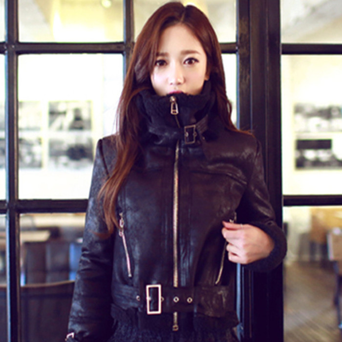 New Korean fur one suede lamb wool jacket womens short plush thickened cotton padded motorcycle suit package