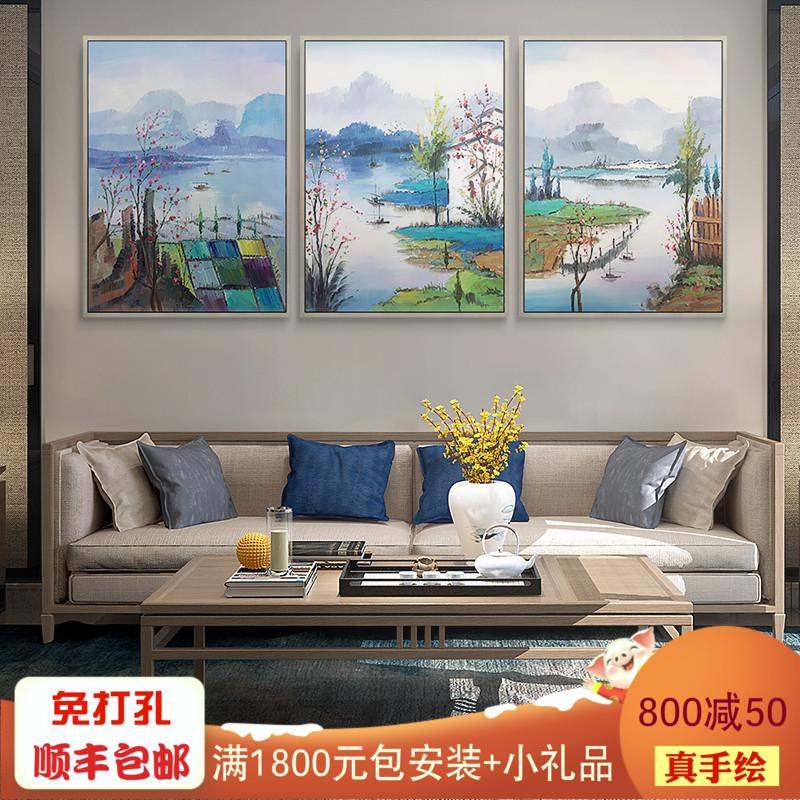 江南水乡定制纯手绘新中式客厅油画