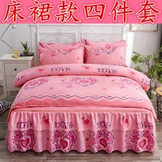 韩式纯棉床裙四件套全棉加厚磨毛被套床罩4件套1.5m1.8米床上用品