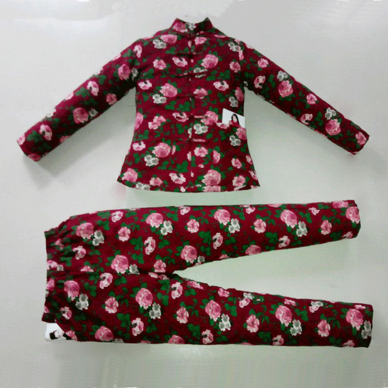 Womens handmade cotton padded clothes and trousers suit cotton padded clothes thickened cotton padded jacket pure cotton northeast Dahua home clothes slim and warm