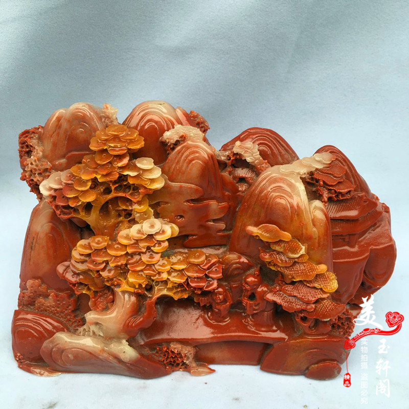 Imitation Shoushan stone with wind and water scenery ornamental ornaments home living room office feng shui crafts gift furnishings