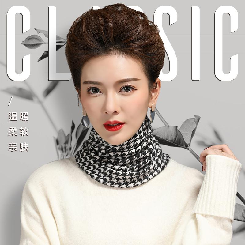 印花围脖套头女款秋冬季新厚针织保暖领圈护颈百搭韩版假领子脖套