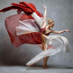 现代舞裙子飘逸大摆渐变练功服大开叉当代舞演出服成人摄影写真裙