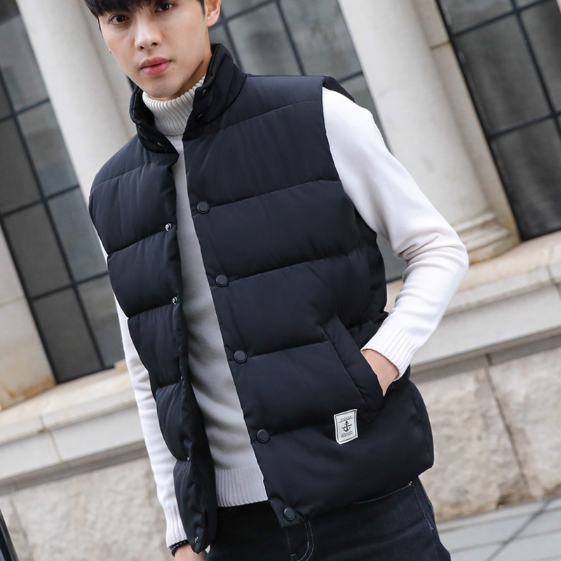 Male waistcoat with thick down cotton winter jacket in autumn and winter Korean style handsome waistcoat for young couples
