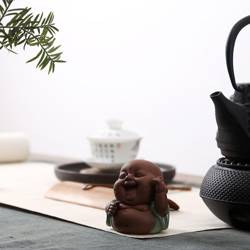 瀾揚紫砂茶寵擺件 可養紫砂茶具茶藝擺件紫砂小和尚 金蟾