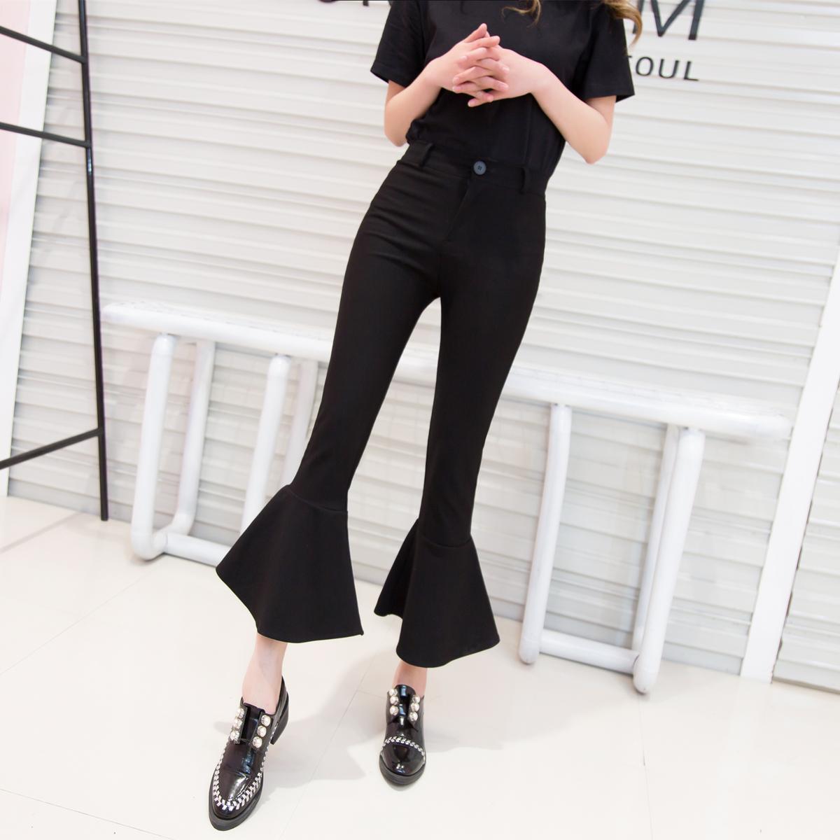 Fishtail pants women 2020 new flounced large size wide leg slim spring autumn Korean elastic micro flared pants 9 points
