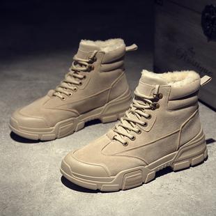 冬季加绒保暖雪地棉鞋男士马丁靴高帮工装靴子男靴雪地百搭男鞋子图片