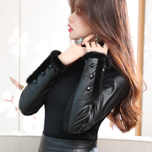 Autumn and winter new style leather sleeve bottoming blouse women's slim down with fur inside and thick down cotton sleeve medium length sweater