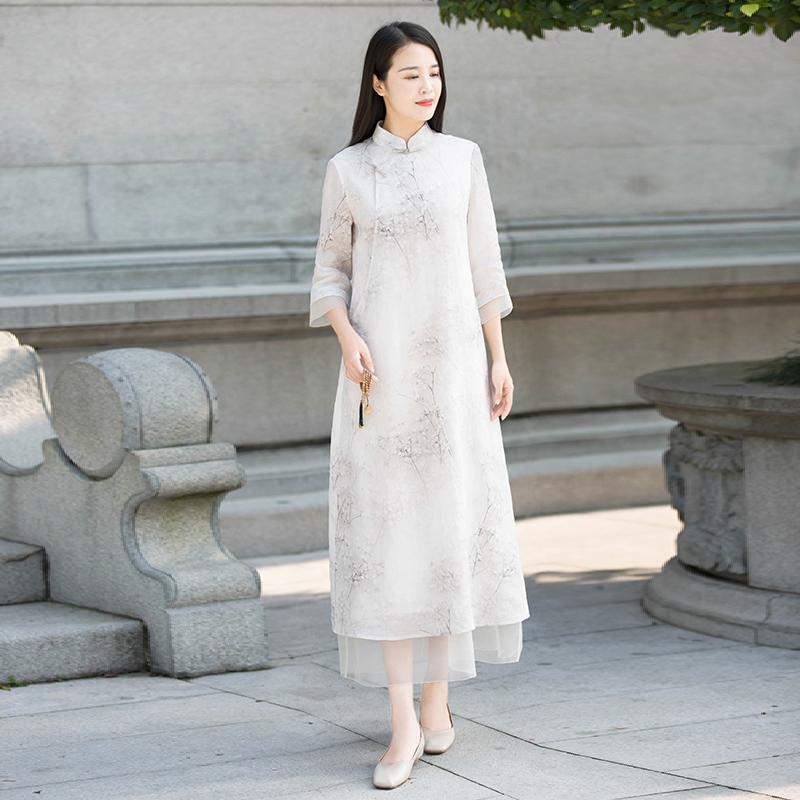 初蝉春夏女装改良中式旗袍复古纯苎麻棉真丝立领印花长款连衣裙