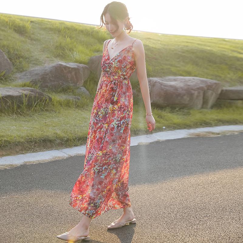 夏季新款吊带长裙雪纺露背连衣裙修身显瘦小仙女裙海边度假沙滩裙