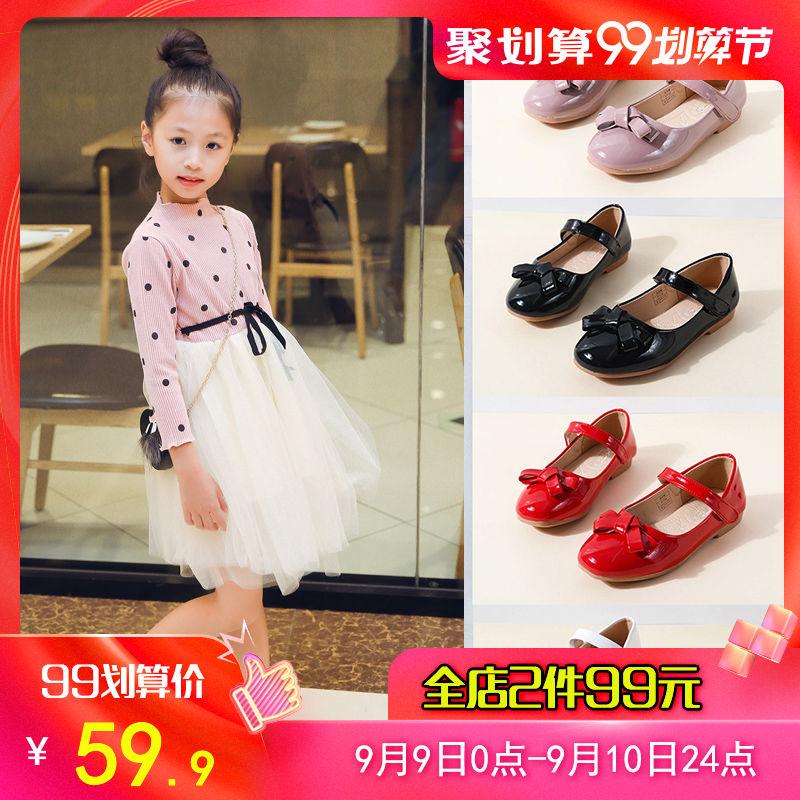 女童黑皮鞋秋季公主鞋黑色鞋子单鞋浅口儿童女小女孩童鞋春秋宝宝