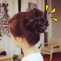 Реалистичное изображение парик резинка для волос ластик мышца работодатель блюдо волосы гирлянда маленькие фрикадельки бутон женщина бутон пушистый кудри черезмерно круг