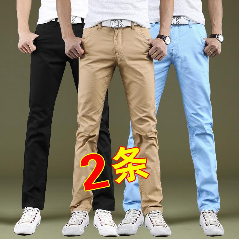 秋冬季加绒青年男士休闲裤男韩版直筒商务男裤子修身潮流黑色加厚